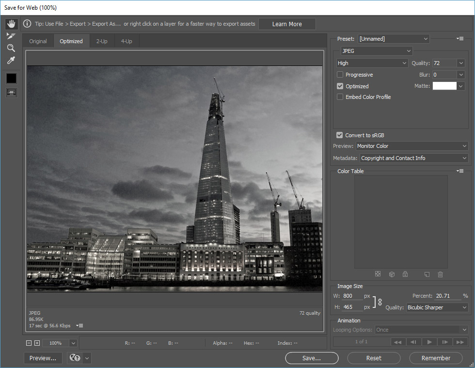 photoshop cc tutorial how to save for web benchmarq